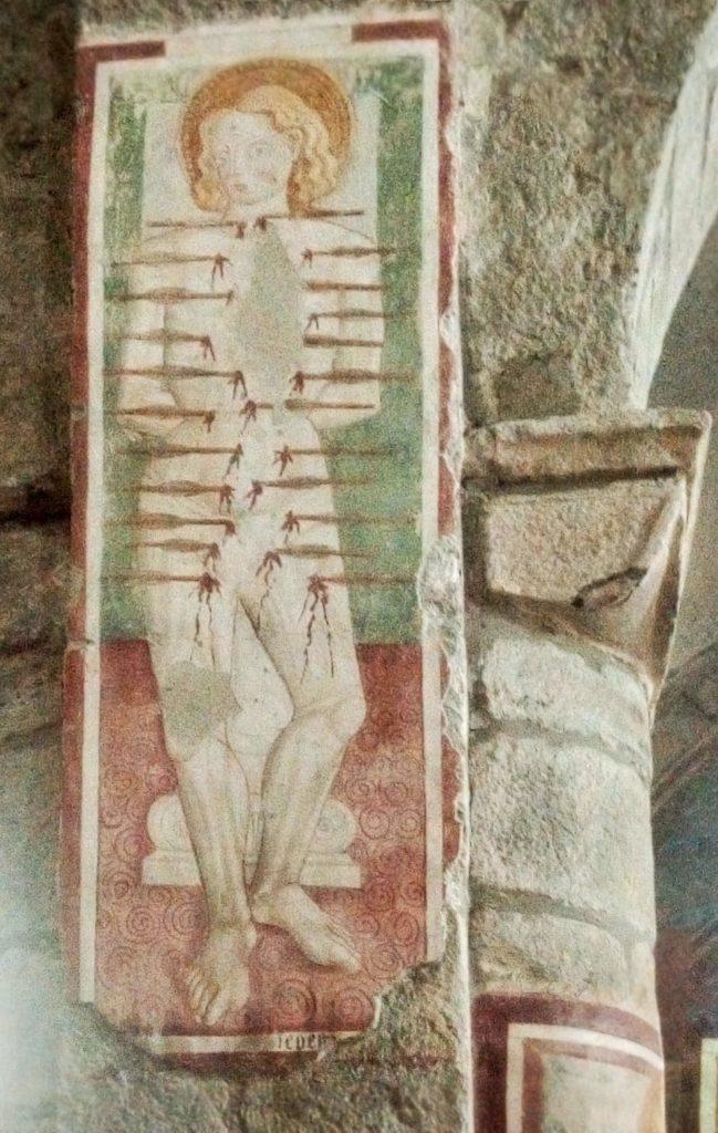 Romanico Piemonte Medioevo Affresco Sebastiano